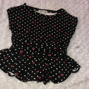 Disney Parks Peplum Minnie Blouse Sz xs